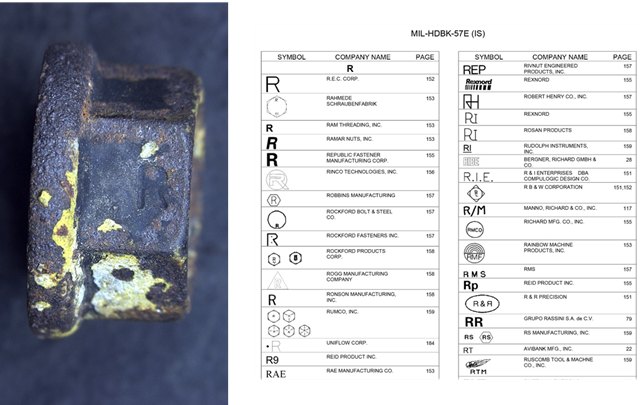 Figure A9: Nut markings from one of the remaining fasteners (left) and relevant page from MIL-HDBK-57 showing manufacturers marks (right).