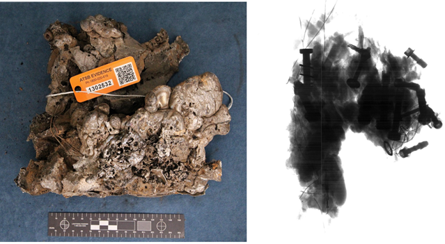 Figure A12: One of the metallic pieces recovered from the accident site and the corresponding radiograph that highlighted the presence of entrapped steel hardware.