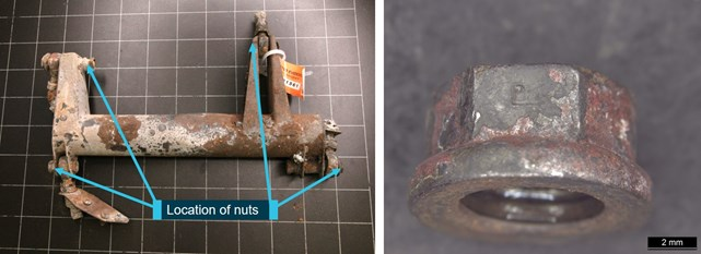 Figure A14: Jackshaft assembly (left) and magnified view of one of the nuts (right).