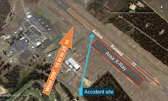 Figure 8: Helicopter training area X-ray at Hobart International Airport. Source: Google earth, annotated by the ATSB