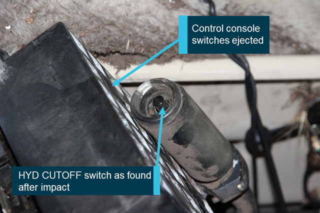 Figure 10: HYD CUTOFF switch and control console as found. Source: ATSB