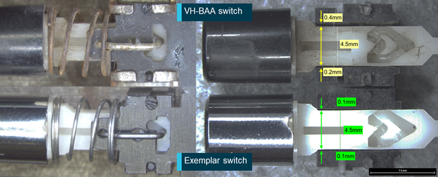 Figure 11: Corrosion, contamination, and wear in VH-BAA switch. Source: ATSB