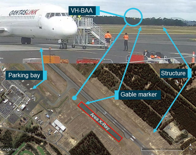 Figure 14: Apron CCTV point of view. Source: Hobart Airport, Google Earth, annotated by the ATSB