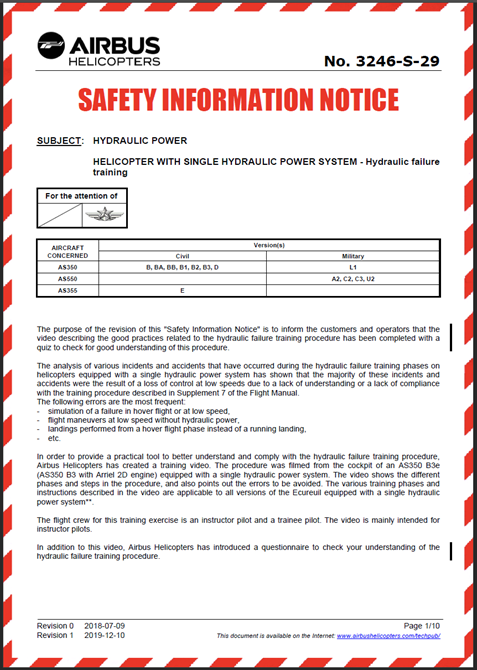 Airbus Helicopters Safety Information Notice 3246-S-29