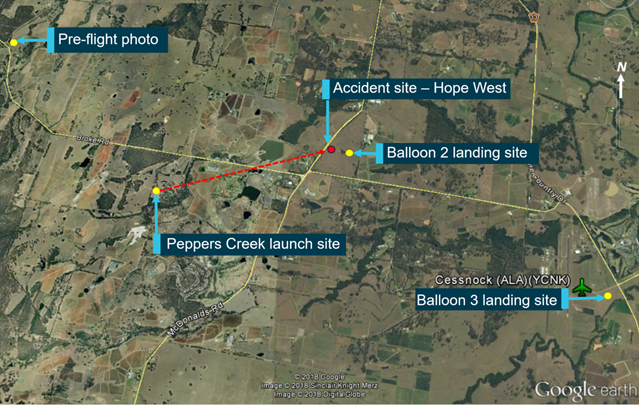 Figure 1: Map of the area showing launch and landing sites. Source: Google Earth annotated by ATSB