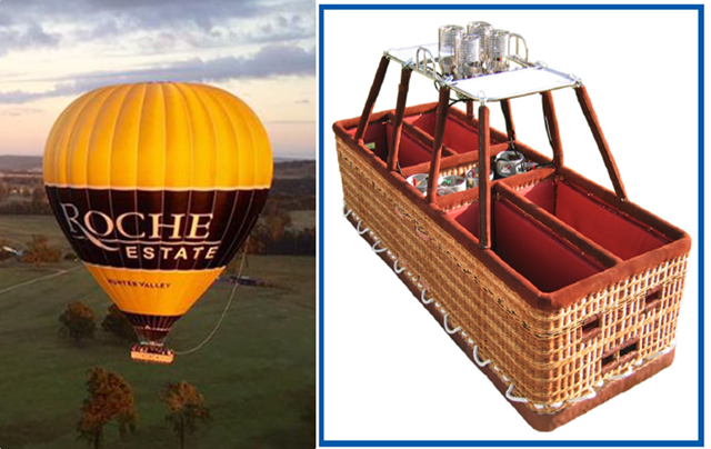 Figure 5: VH-HVW and Figure 6: Double tee basket. Source: Kavanagh Balloons
