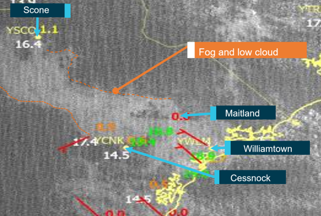 Figure 7: Satellite imagery showing a band of fog and low cloud at 0700. Source: Bureau of Meteorology annotated by ATSB