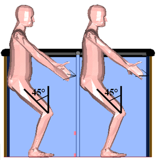 Figure 8: Landing position – knees bent and holding onto handles. Source: Kavanagh Balloons