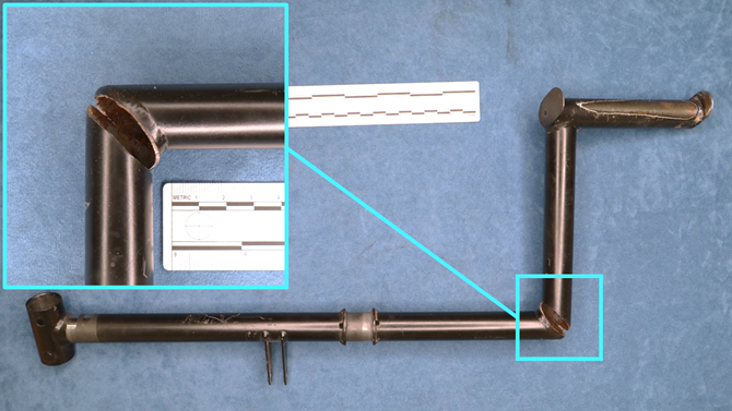Right tail rotor pedal as received by the ATSB, showing the location of the fracture