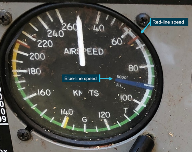 Figure 3: Airspeed indicator from VH-IAZ showing red-line (VMC) and blue-line (VYSE) speeds.