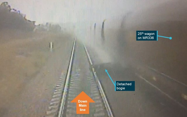 Figure 8: WC915 front locomotive footage just prior to collision. Source: Aurizon annotated by OTSI