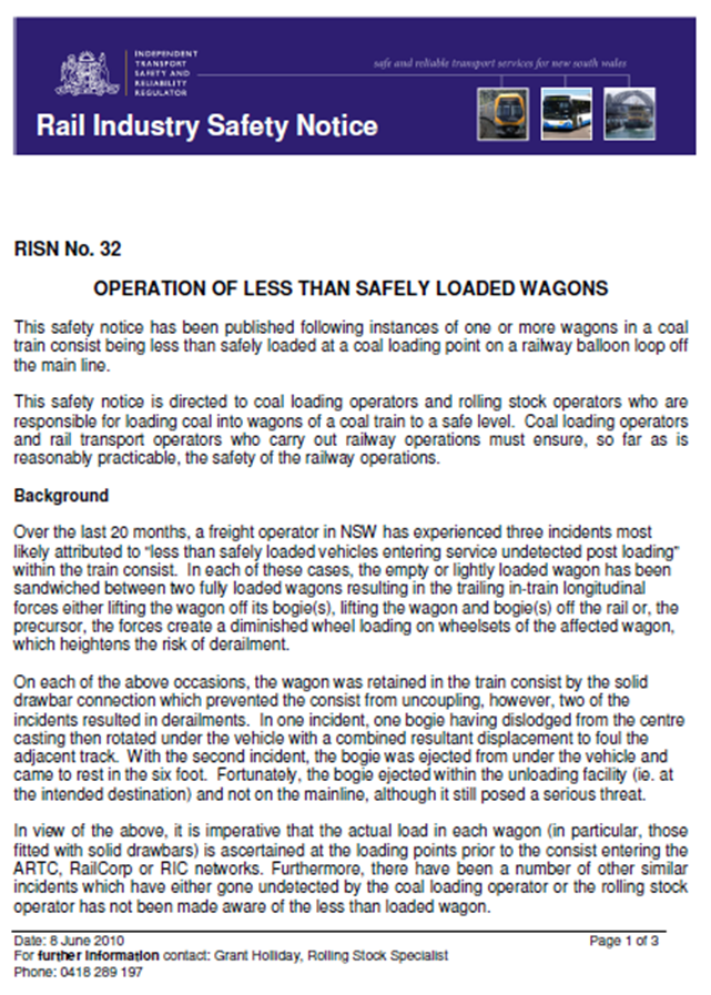 Appendix A – Rail Industry Safety Notice (RISN No. 32) (Page 1)