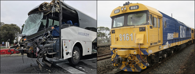 Title image - wreckage of bus (left) and damage to train (right).