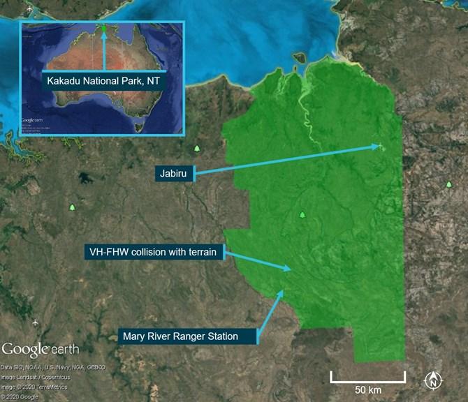 Figure 1: Kakadu National Park and location of accident