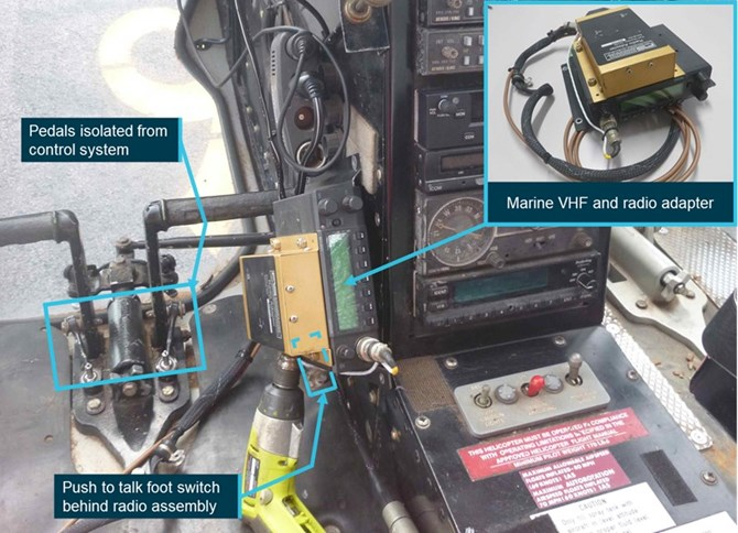 Figure 11: Exemplar radio installation showing approximate position in footwell