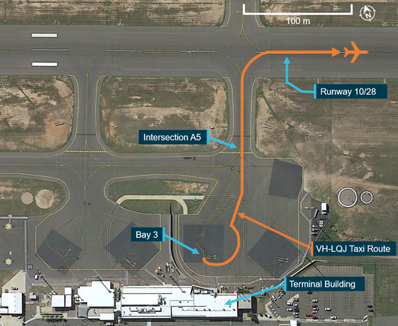 Overview of VH-LQJ taxi routing