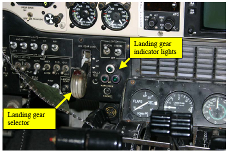 Figure 1: Landing gear selector and landing gear indicator lights